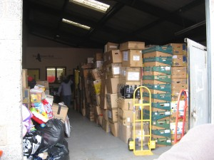 Huge pile of boxes bound for Malawi